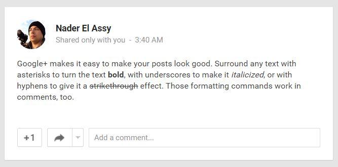 Google Plus Text Easy Formatting